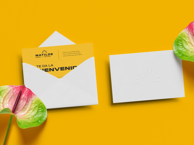Matilde ( Woman Shelter ) welcome shelter yellow envelope design card design card business card branding