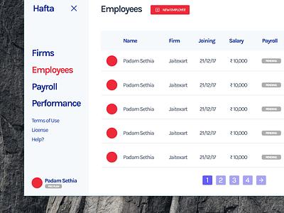 Hafta - Payroll App web ui website web app design web ux ui payroll hr hr cloud flat design app