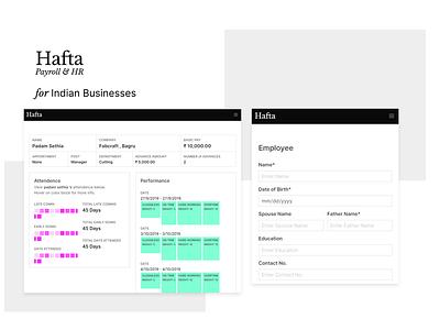 Hafta - Payroll & HR for Indian Businesses web app design hr hr cloud ux ui app hrm charts web payroll
