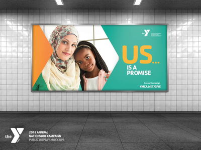 YMCA - 2018 Annual Nationwide Campaign Displays subway station poster banner display nonprofit campaign branding interactiondesign concept design digital art digital design public animation mockup design ymca art director art direction