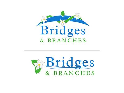 Bridges & Branches School of Natural Healing flat vector representation clean simple floral branding affinitydesigner logo school logo school