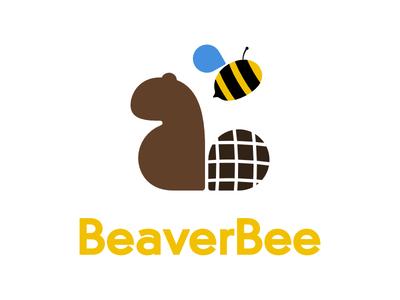 BeaverBee Logo clean design animals bee beaver flat typography icon design vector logo