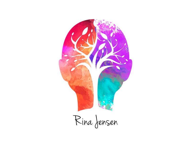 Rina Jensen: Business Resiliency Coach Logo design graphic desgin branding vector color colorful tree growth brain business coach