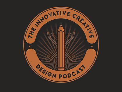 The Innovative Creative Design Podcast affinity designer icon flat clean design affinitydesigner logodesign pencil web vector logotype logo design podcasting podcast logo podcast