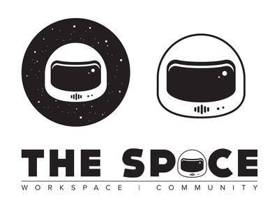 The Space: Workspace | Community flat logotype icon clean branding affinitydesigner logo vector coworking space spaceship typography stars helmet space coworking