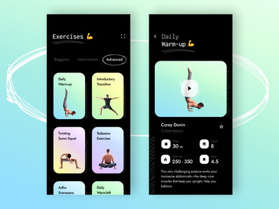 Fitness & Workout App 🔥 mobile app mobile workout tracker workout app workout yoga app yoga calories diet app diet fitness app fitness dark mode dark app dark ui dark ui clean product design ux design