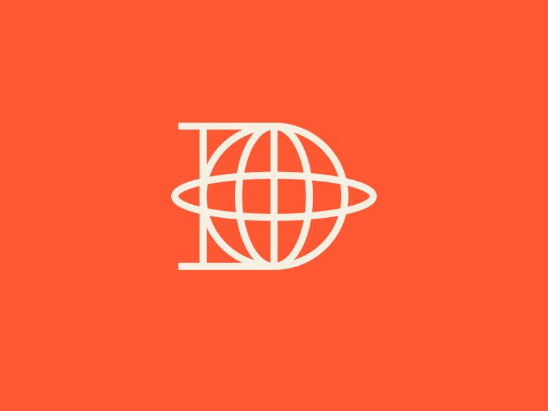 D letter modern symbol minimalist lines abstract geometric