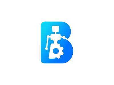 B Robot alphabet bold illustration gear glyph robotic technology empty space negative space robot branding typography vector identity mark design brand sale logo initial logo