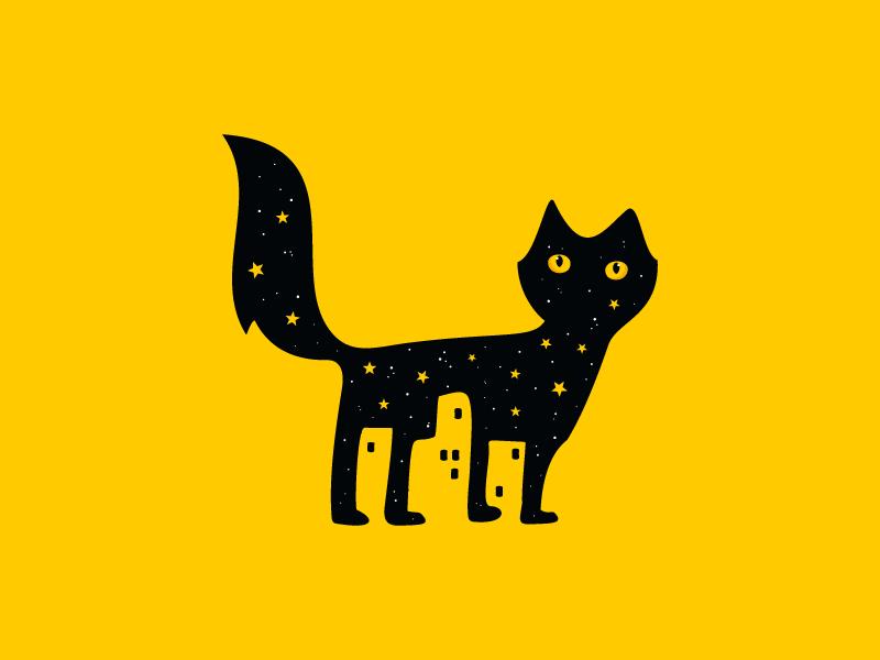 Night Cat City empty space city pet cat animal mark brand sale logo design