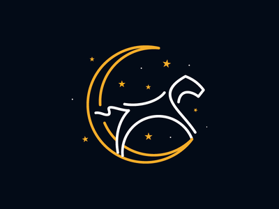 Dream Horse moon dream kindergarten kid horse identity animal mark brand sale logo design