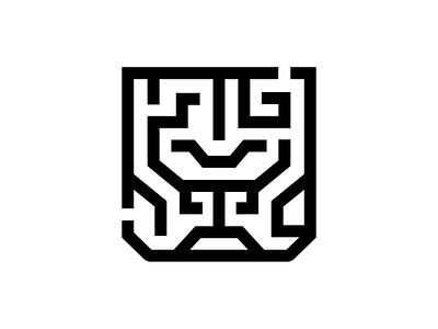 Lion Maze mark animal maze lion identity brand design sale logo