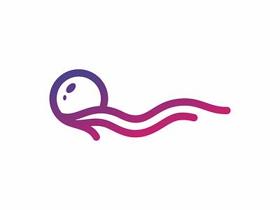 Jelly Fish typography dynamic design monoline identity vector sale sea jellyfish animal brand logo