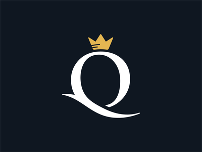 Q Queen famous elegant memorable fashion beauty mark crown king queen jewelry letter typography identity brand sale logo