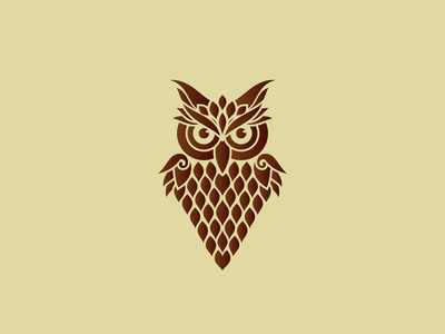 Owl Logo vector brown education wise brave strong guard protect security hunter nocturnal owl wildlife bird animal identity mark brand sale logo