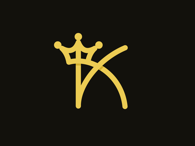 Monoline K King king crown typograhpy initial branding typography mono line vector identity mark design brand sale logo