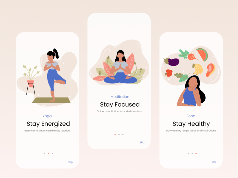 Wellness App Onboarding healthy food meditation wellness ux branding vector illustration mobile app ui minimal design