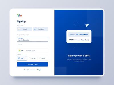 India MyGov   Sign Up Redesign website landing page ui webdesign branding redesign signup