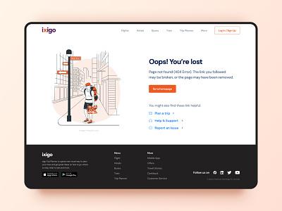 Ixigo 404 Page Redesign vector redesign app flat modern illustrator graphic design branding ui