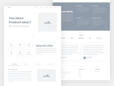 Wireframe - Landing Page wire frame landing ux design minimal wireframe landing page
