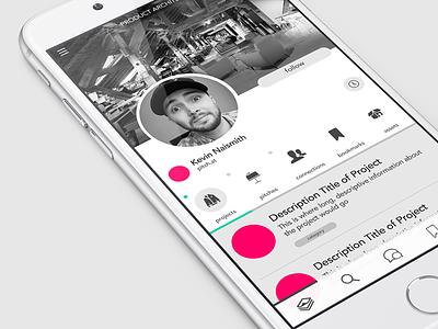 Pitch@ - User Profile  digital content media sort profile user app iphone mobile ios ux ui