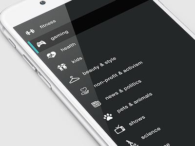 Creator Republic - Menu 2 theme dark black navigation sort ui ux design iphone ios menu creators
