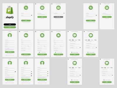 Shopify Media - Login  green wireframe password credit card sign up onboarding login media shopify