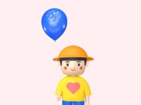 a girl with balloon