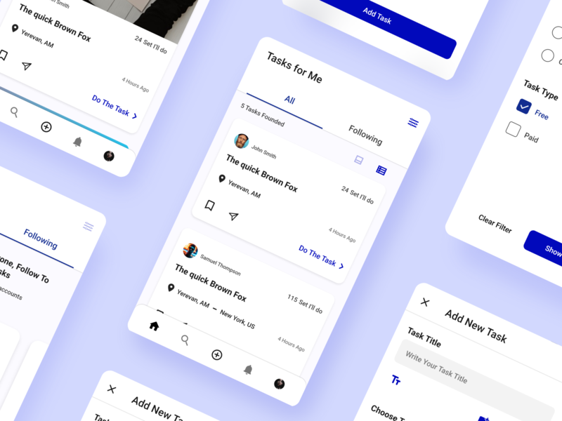 Task App Clean UI clean uidesign ui design ui app design mobile app design mobile app mobile ui blue blue and white clean design clean ui task app task tasks android app design android app simple design simple