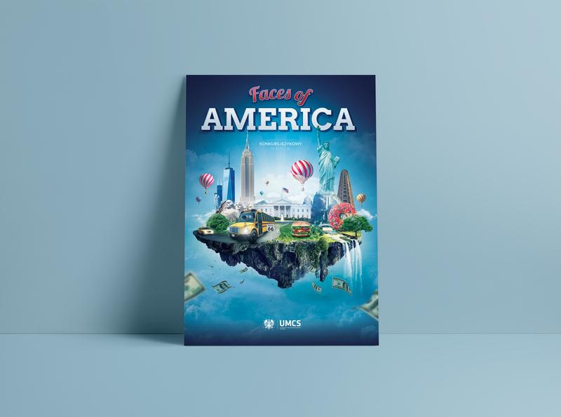 "Poster ""Faces of America"". UMCS island university poster usa america visual design visual art visual keyvisual design art artwork art illustration design"