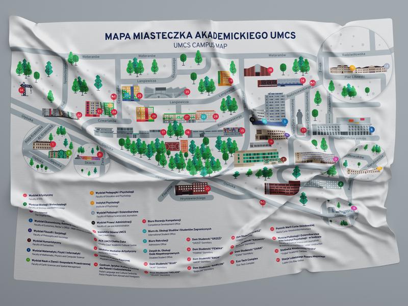 UMCS Campus map visual design buildings illustrator vectorart design art campus map vector university illustration branding design