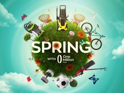 Spring with OneMillion Shop Key Visual springtime online shop shop garden fresh spring visual brand design key art promo keyvisual key visual design art visual design design