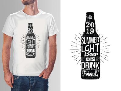 T-shirt Summer 2019. Perła promo mark typo friends bottle t-shirt design t-shirt tshirt art tshirt drink beer 2020 2019 summer typography vector logo illustration branding design