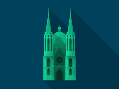 Brazil 2014 Host Cities - São Paulo - Catedral da Sé flat long-shadow brasil brazil architecture icon poster