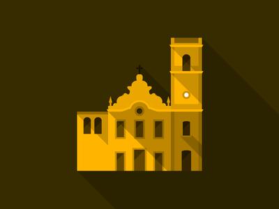 Brazil 2014 Host Cities - Natal - Catedral Velha flat long-shadow brasil brazil architecture icon poster