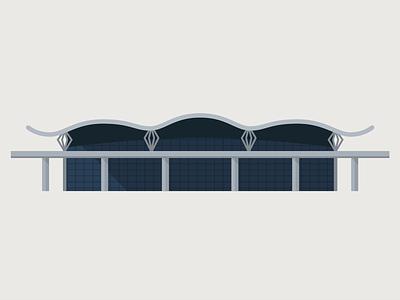 Zagreb Franjo Tuđman Airport building architecture illustration vector flat