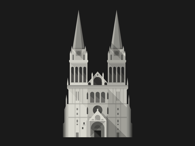 Zagreb Cathedral building architecture illustration vector flat