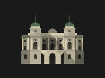 Croatian National Theatre, Zagreb building architecture illustration vector flat