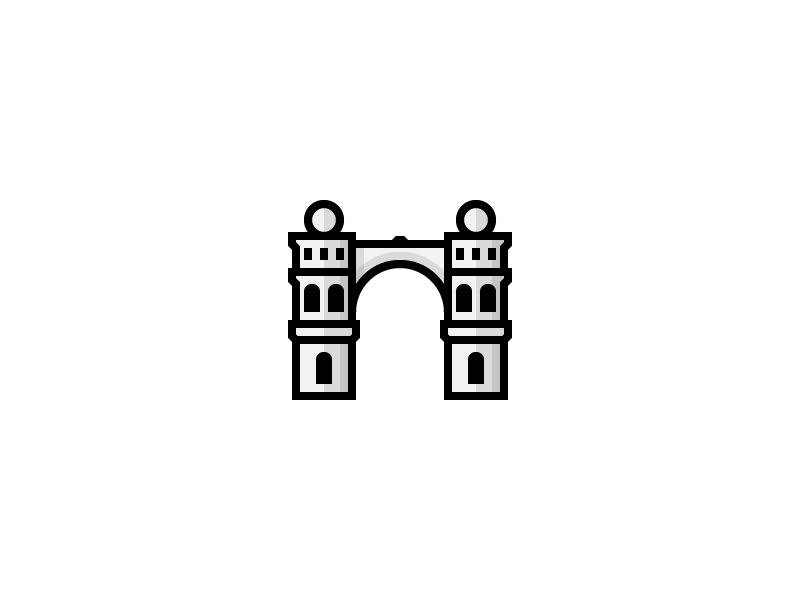 Córdoba, Argentina landmark flat city argentina cordoba simple linear line icon