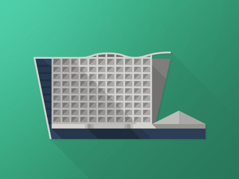 Rutmap - Hotel Hills sarajevo flat vector building icon architecture