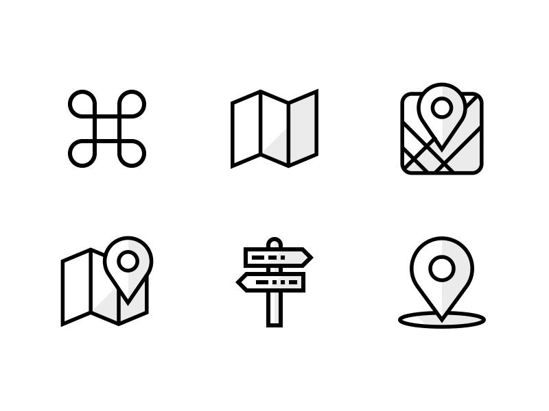 Kamapu App Icons - Single spot explorations spot directions map landmark flat simple linear line icon