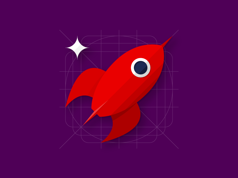 Rocket to the moon red space rocket flat icon material design material