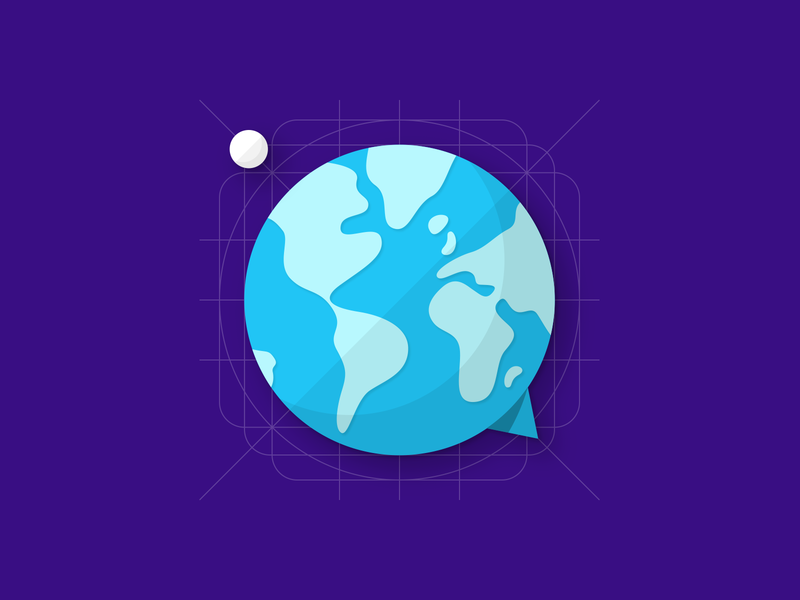 Hello world chat map moon earth hello world material design icon flat