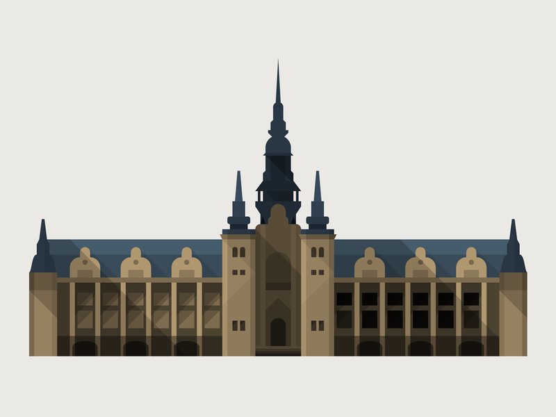 Stockholm Nordic Museum building architecture flat vector illustration icon sweden stockholm