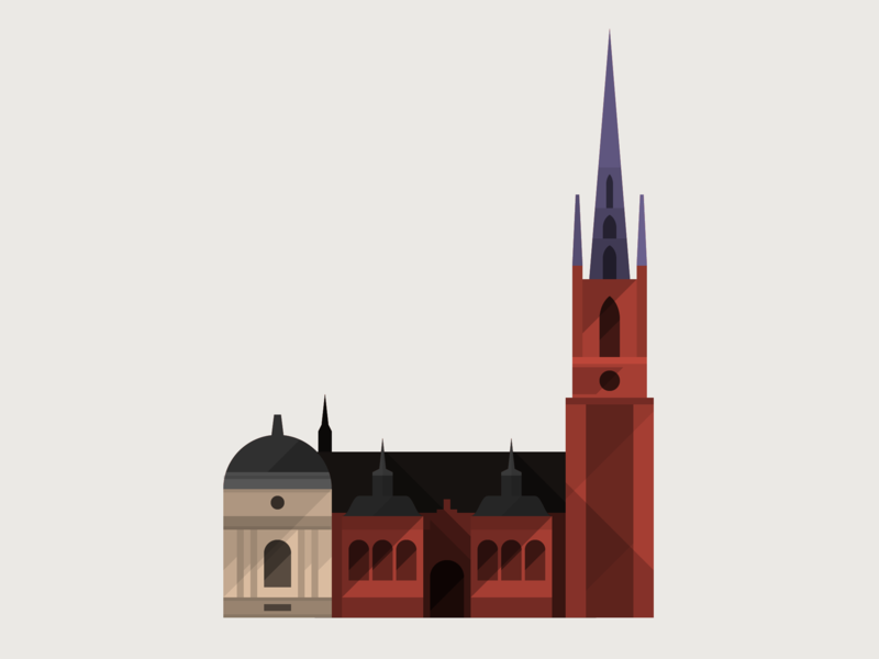 Riddarholmen Church stockholm sweden church building architecture icon illustration vector flat