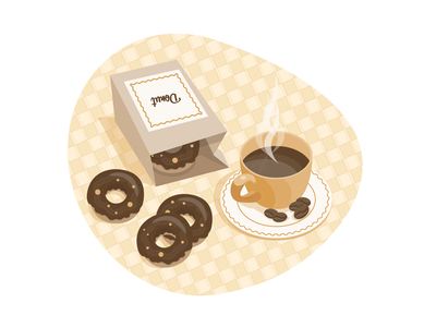 Good morning 🍩☕️ donuts coffee cup coffee breakfast sweets food dribbble uidesign ui illustration vector design