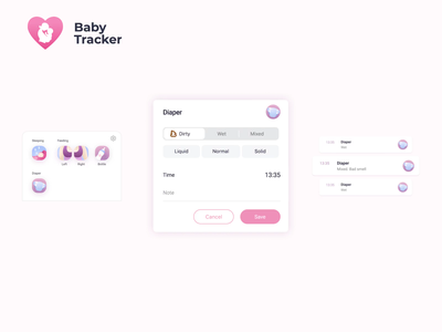 Diapers 💩 feeding newborn babycare baby diaper ios icon app animation affter effects dribbble uidesign ui illustration vector design