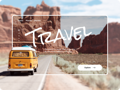 Travel concept typography travel concept website camp traveling travel ux dribbble ui uidesign illustration design