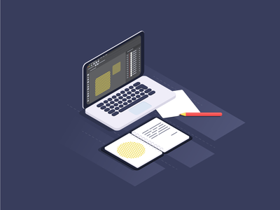 workspace 💻 isometric macbook laptop computer workspace work dribbble uidesign ui vector illustration design
