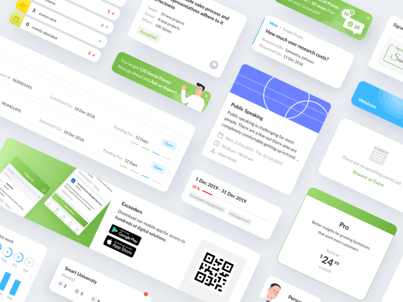 Exceeders Marketplace styleguide products feed task management pricing notifications progress cards design system e-commerce marketplace product design