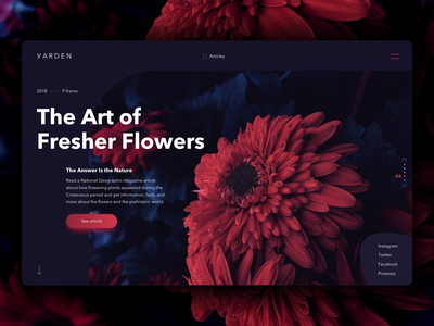 Flowers Website Homepage web design website design homepage design nature call to action main page articles darkness dark flowers slider carousel homepage
